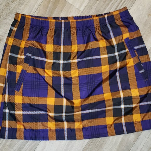 Forever 21 Purple/Orange Plaid/Tartan Mini Skirt